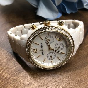 Michael Kors White Acrylic, Gold, and CZ Watch